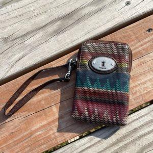 FOSSIL Key Per Knit Yarn Design Wristlet Wallet